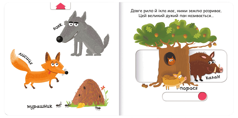 Тварини в лісі. Сторінки-цікавинки